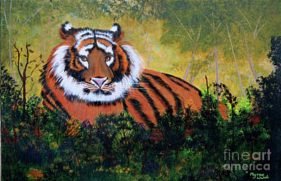 Tiger At Rest Poster by Myrna Walsh
