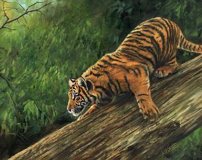 Poster featuring the painting Tiger Descending Tree by David Stribbling