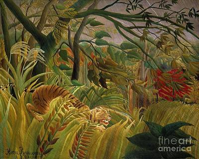 Tiger In Tropical Storm Poster