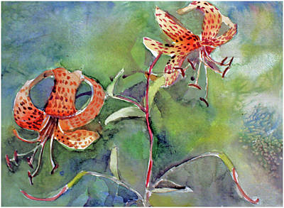 Poster featuring the painting Tiger Lilies by Mindy Newman