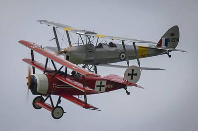 Tiger Moth And Fokker Dr1 Formation Poster by Roberto Resnigo