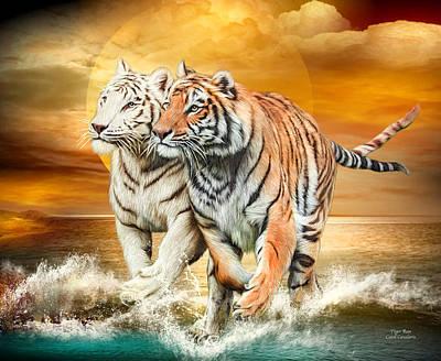 Poster featuring the mixed media Tiger Run by Carol Cavalaris