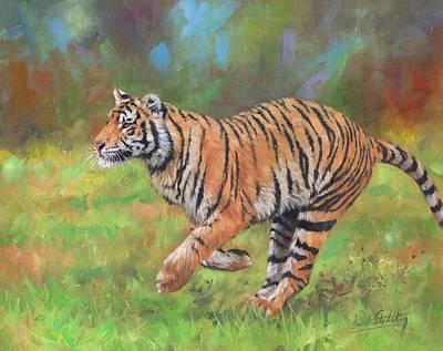 Tiger Running Poster by David Stribbling