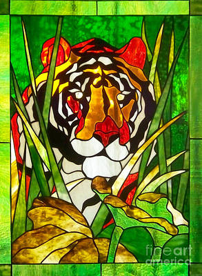 Tiger Stained Glass Poster