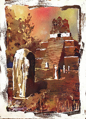 Poster featuring the painting Tikal Mayan Ruins- Guatemala by Ryan Fox