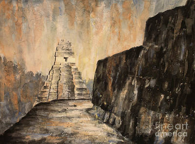 Poster featuring the painting Tikal Ruins- Guatemala by Ryan Fox