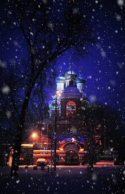 Tikhvin Church 1. Snowy Days In Moscow Poster by Jenny Rainbow
