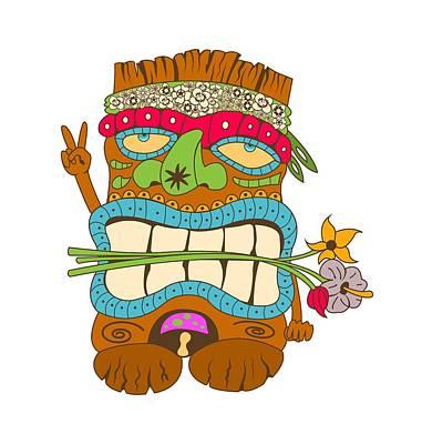 Tiki Flower Power Poster by Stevan Sos