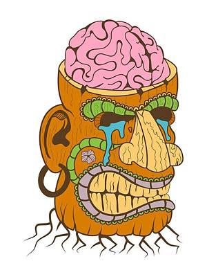 Tiki Head With Brain Exposed Poster by Stevan Sos