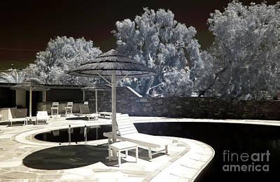 Tiki Lounge In Mykonos Infrared Poster by John Rizzuto