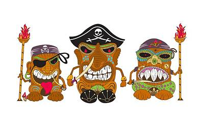 Tiki Pirates Poster by Stevan Sos