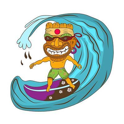 Tiki Surfer Poster by Stevan Sos