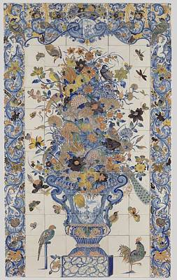 Tile Panel With A Vase Of Flowers, Anonymous, C. 1690 - C. 1750 Poster by Celestial Images