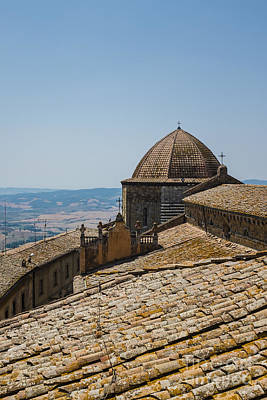 Tile Roof Tops Of Volterra Italy Poster by Edward Fielding