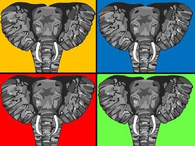 Tiled Elephants Poster