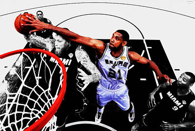 Tim Duncan And The Birdman Poster by Brian Reaves