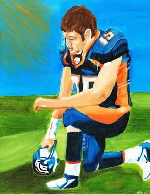 Tim Tebow Denver Broncos Nfl Portrait Poster by Derek Clendening