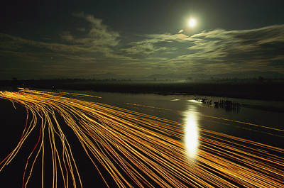 Time Lapse Of Lights From Boats Moving Poster by Steve Winter