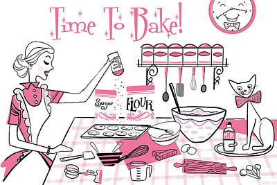 Time To Bake Poster by Little Bunny Sunshine