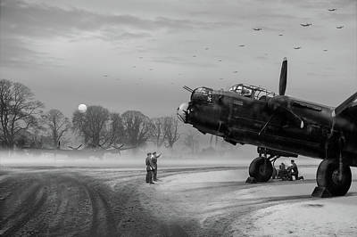 Poster featuring the photograph Time To Go - Lancasters On Dispersal Bw Version by Gary Eason