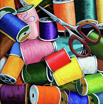 Poster featuring the painting Time To Sew - Colorful Threads by Linda Apple