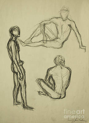 Poster featuring the drawing Timed Gestures Exercise by Angelique Bowman