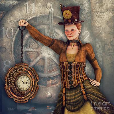 Poster featuring the digital art Timekeeper by Jutta Maria Pusl