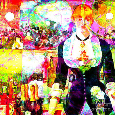 Timeless Art A Bar At The Den Folies Bergere 20160228 Square Poster by Wingsdomain Art and Photography