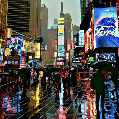 Times Square In The Rain Poster by Richard Hinds
