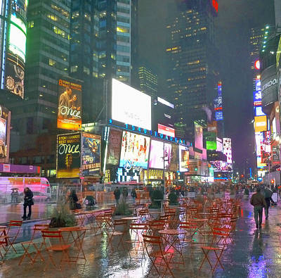 Times Square Red Rain Poster