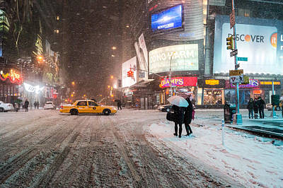 Times Square Snow - Winter In New York City Poster by Vivienne Gucwa