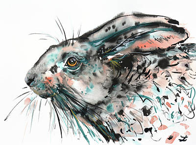 Poster featuring the painting Timid Hare by Zaira Dzhaubaeva