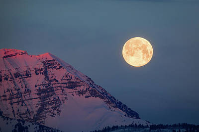 Poster featuring the photograph Timpanogos With The Pink Moon. by Johnny Adolphson