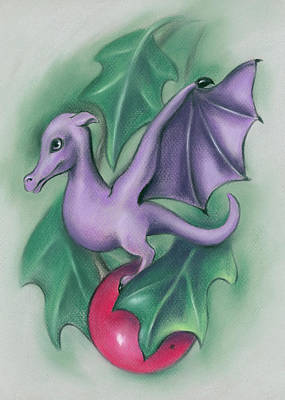 Poster featuring the pastel Tiny Dragon On A Holly Berry by MM Anderson