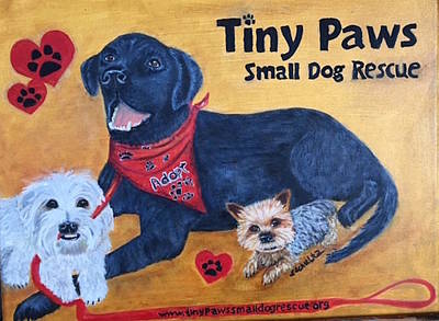 Poster featuring the painting Tiny Paws Small Dog Rescue by Sharon Schultz