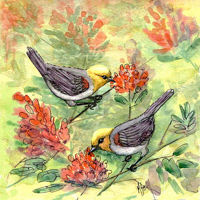 Poster featuring the painting Tiny Verdin In Honeysuckle by Marilyn Smith