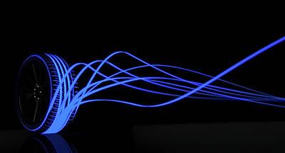 Tire Luminous Tread And Glowing Wake Poster