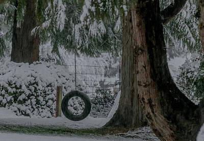 Tire Swing In Winter Poster