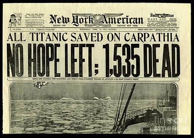 Titanic Newspaper  Poster