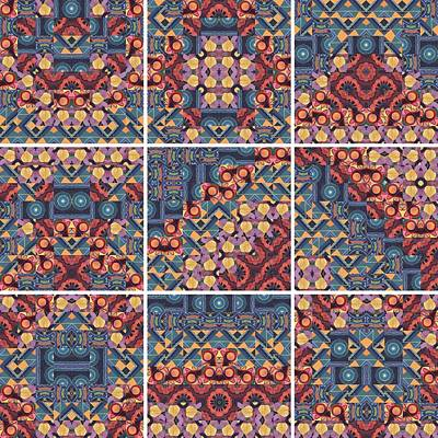 T J O D Mandala Series Puzzle 5 Variations 1 To 9 Poster by Helena Tiainen