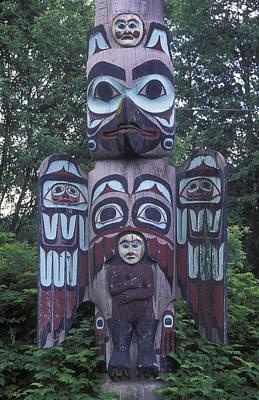 Tlingit Totem Pole, Saxman Totem Park Poster by Rich Reid
