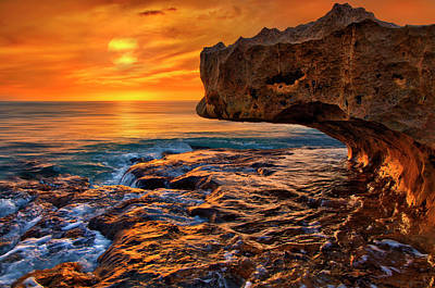 To God Be The Glory - Sunrise Over Ocean Reef Park On Singer Island Florida Poster