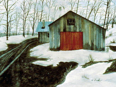 Poster featuring the painting To The Sugar House by Karen Zuk Rosenblatt