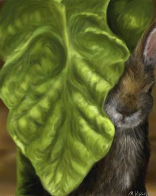 Poster featuring the digital art Tobacco Hare by Meagan  Visser