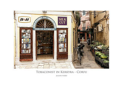 Poster featuring the digital art Tobaconist In Kerkyra - Corfu by Julian Perry