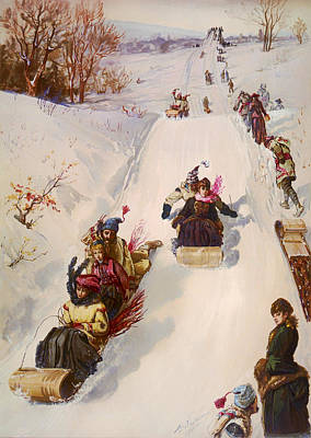 Tobogganing  Poster by Mountain Dreams