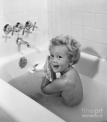 Toddler In Bath, 1950s Poster