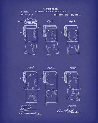 Poster featuring the drawing Toilet Paper Patent Art Blue by Prior Art Design