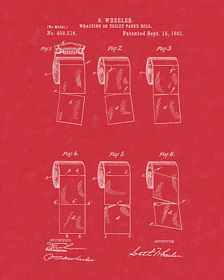 Poster featuring the drawing Toilet Paper Patent Art Red by Prior Art Design