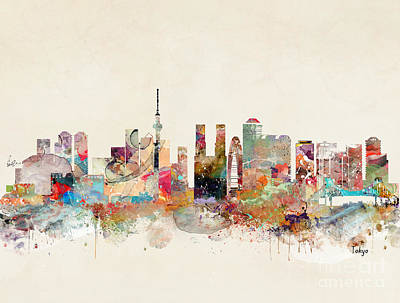 Poster featuring the painting Tokyo City Skyline by Bri B